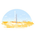 rocket launch from launch pad vector image vector image