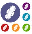 sanitary napkin icons set vector image vector image