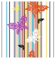 seamless striped background with butterflies vector image vector image