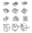set pencil sharpener simple outline images vector image