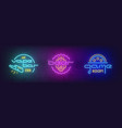 stock set of neon signboard vector image