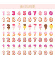 sweet numbers set in pastel pink different vector image vector image
