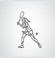 tennis player female stylized outline vector image vector image