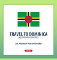 travel to dominica discover and explore new vector image vector image