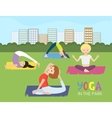 women doing yoga in park vector image