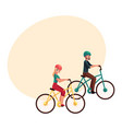 young couple man and woman riding bicycles vector image