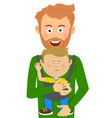 young father holding his son in baby carrier vector image vector image