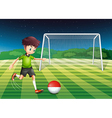 a player kicking ball with flag of vector image vector image