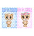 baby shower greeting card with teddy bears boy vector image vector image