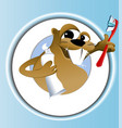 Beaver cleaning teeth vector image vector image
