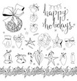 big set with vintage christmas decoration isolated vector image vector image