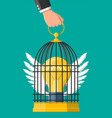 bird cage in hand with light bulb idea inside vector image