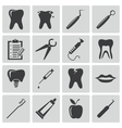 black dental icons set vector image vector image