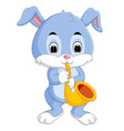 bunny playing saxophone vector image vector image
