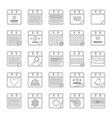 calendar icons set outline style vector image