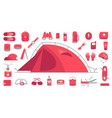 camping set mountain hike equipment kit tourism vector image vector image