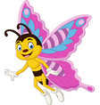 cartoon happy butterfly isolated vector image vector image