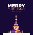 christmas and new year card gift box pine tree vector image