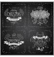 christmas handdrawn emblems chalkboard vector image