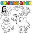 coloring book with tropic animals 3 vector image