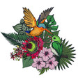 composition tropical flowers and exotic vector image vector image
