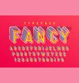 condensed 3d display font popart design alphabet vector image vector image