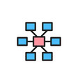 connections hierarchy flat color icon isolated vector image