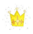 cute yellow crown with gems cartoon icon fun vector image vector image