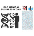 dna research icon with 1300 medical business icons vector image