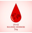 Drop of Red Blood with Planet Earth vector image vector image