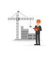 engineer architect or foreman on background of vector image vector image