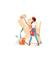 female painting wall with roller beige colour vector image vector image