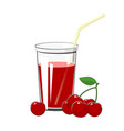glass with cherry juice vector image