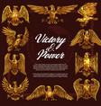 gold eagles heraldic symbols vector image