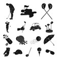 golf and attributes black icons in set collection vector image vector image