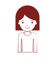 half body woman with hair middle length in dark vector image vector image