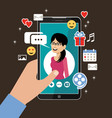 hand holding phone with womans profile online vector image