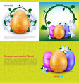 happy easter set greeting cards with color vector image vector image