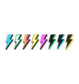 isolated lightning bolt signs 2st set flash vector image vector image