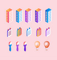 isometric gradient business elements set isolated vector image