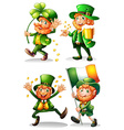 Leprechaun with green leaves and gold vector image
