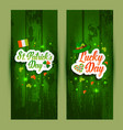 lettering of saint patrick s day banners on green vector image