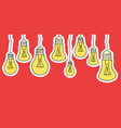 linear cartoon hanging light bulbs on red vector image vector image