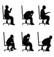 man silhouette sitting on office chair in various vector image vector image