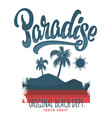 paradise typography graphics for t-shirt print vector image vector image