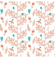 pink seamless pattern with tree and flying birds vector image vector image