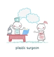 plastic surgeon t work talking to a patient vector image vector image