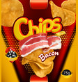potato chips bacon flavor design packaging 3d vector image vector image