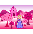 Princess and pink castle landscape vector image vector image