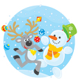 Reindeer and snowman dancing vector | Price: 1 Credit (USD $1)